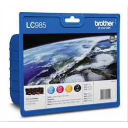 TINTA BROTHER LC985 NEGRO + 3 COLORES