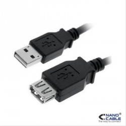 CABLE USB 2.0 A/M-A/H 1.8M NEGRO NANOCABLE